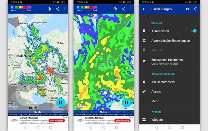 Regenradar-App: Screenshot Regen-Alarm