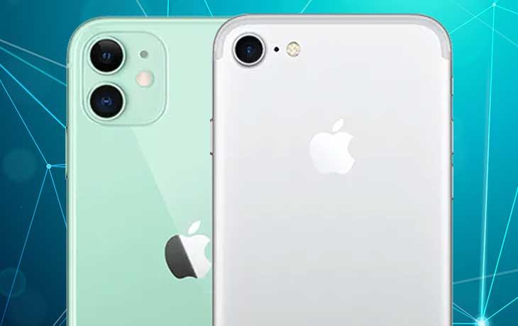 iPhone 11 vs. iPhone 7: Handykameras von hinten nebeneinander