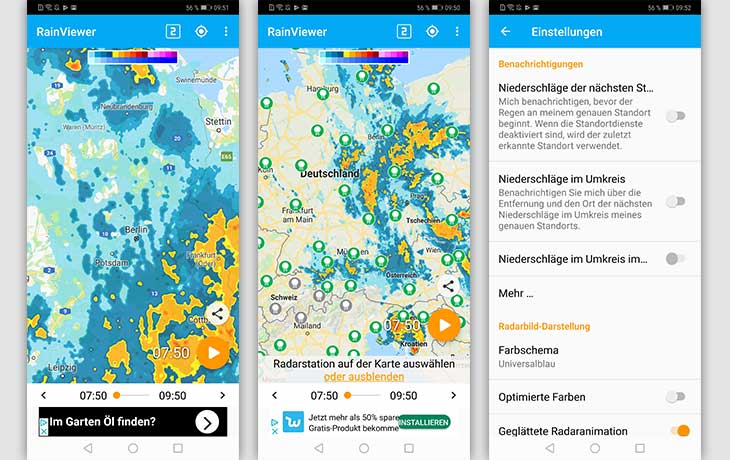 Regenradar-App: Screenshots RainViewer