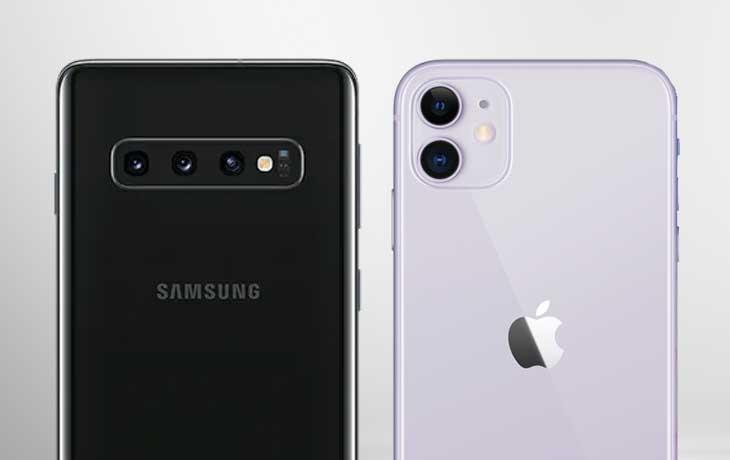 Rüückseite iPhone 11 und SAmsung Galaxy S10