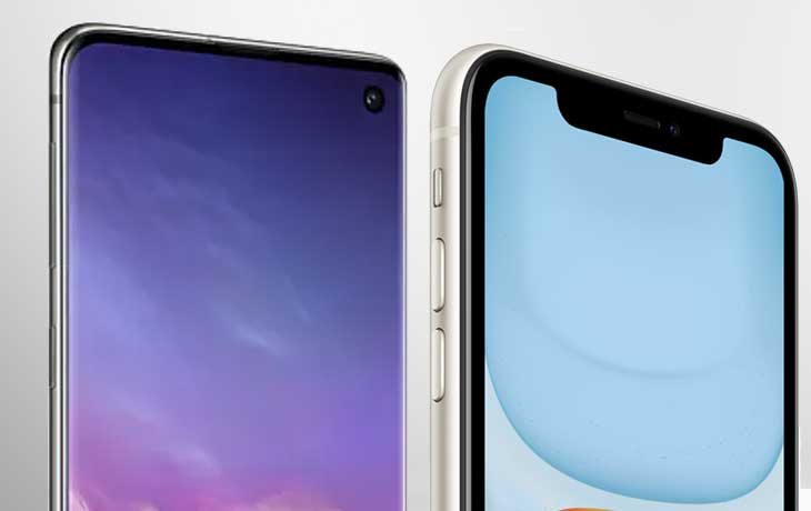 iPhone 11 und Galaxy S10 Notch und Infinity Display