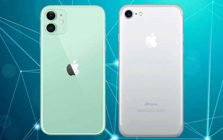 iPhone 11 vs. iPhone 7: Handys von hinten nebeneinander
