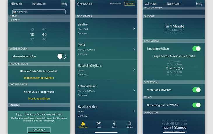Wecker-App: bedr Radiowecker