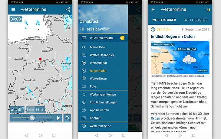 Regenradar-App: Screenshot Regenradar