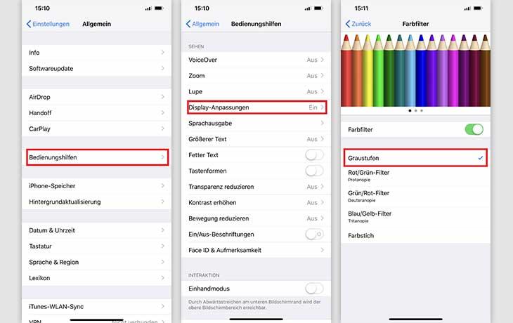 Anlietung iPhone Schwarz-Weiß-Modus aktivieren