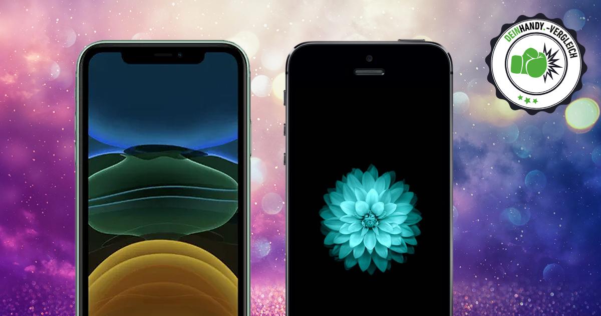 iPhone 11 vs. iPhone SE: Handy von vorne nebeneinander mit Stempel