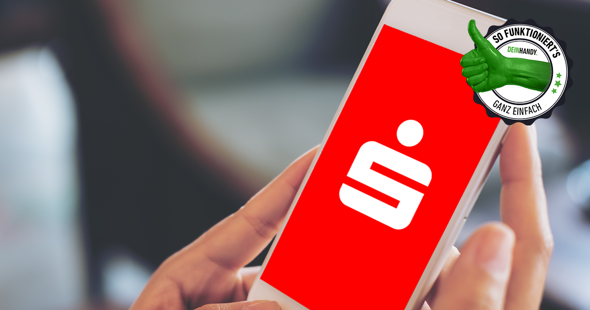 Sparkassen App: Handy mit Sparkassen Logo