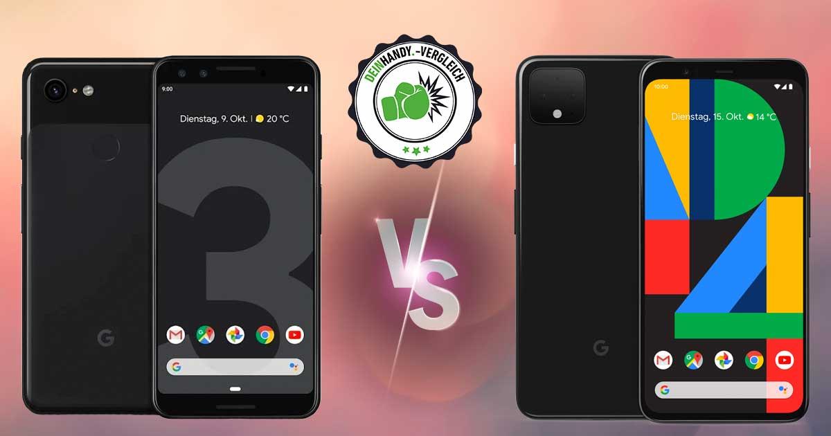 Google Pixel 4 vs. Pixel 3: Beide Handy nebeneinander plus vs.-Stempel
