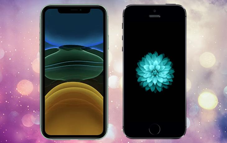 iPhone 11 vs. iPhone SE: Handys von vorne nebeneinander