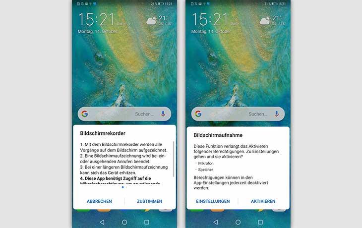 Bildschirmaufnahme bei Huawei: Volume-und-Aus-Methode