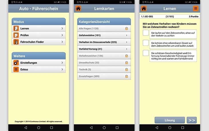 Führerschein-App: Screenshots Auto Führerschein 2019