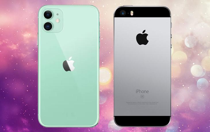 iPhone 11 vs. iPhone SE: Handys von hinten nebeneinander