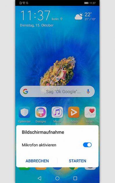 Knuckle Sense Gesten: Huawei Bildschirmaufnahme via Klopfen