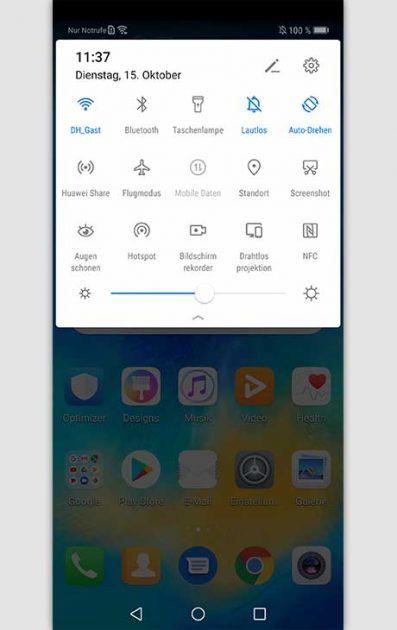 Huawei Bildschirmaufnahme via Verzeichnis starten
