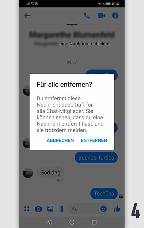 Facebook Nachricht löschen Android 4