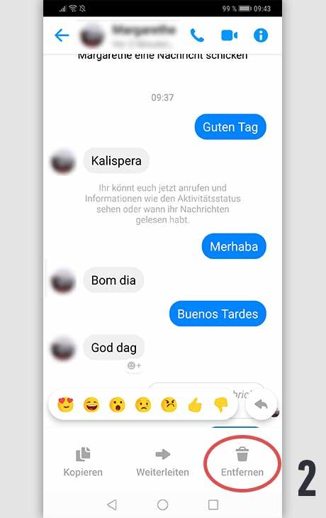 Facebook Nachricht löschen Android 2