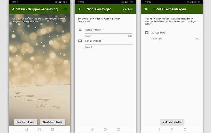 Wichtel App – Wichteln zu Weihnachten (für Android): Die Schnelle