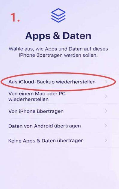 Backup laden iCloud Screenshot 1