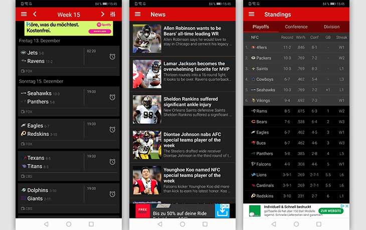 Football NFL Live Scores Screenshots