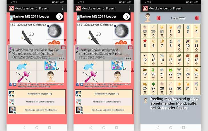 Mondkalender für Frauen App Screenshots