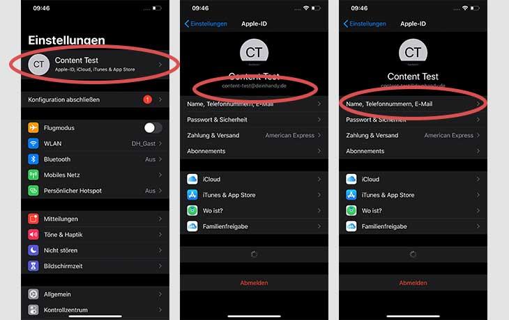 iPhone Apple ID ändern Telefonnummer Screenshots