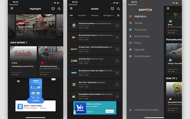 TV-Apps: Zattoo