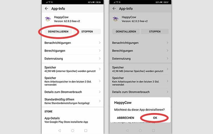 App deinstallieren Android Menü Screenshot 2