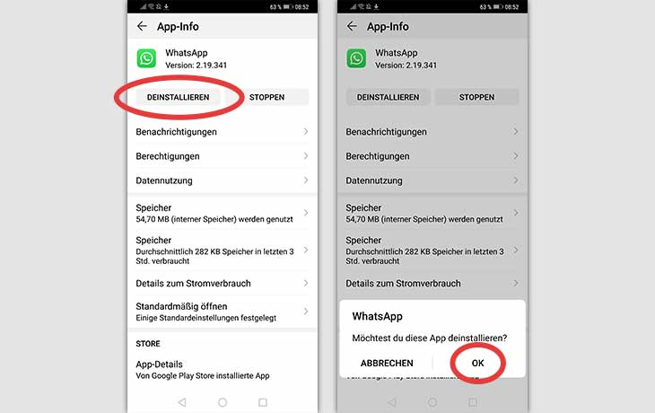 WhatsApp löschen Android Screenshots 2