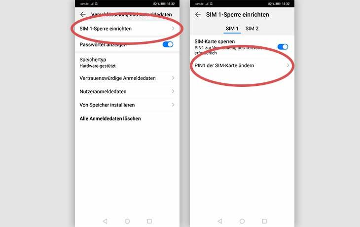 Huawei SIM Pin ändern Anleitung Screenshot 2