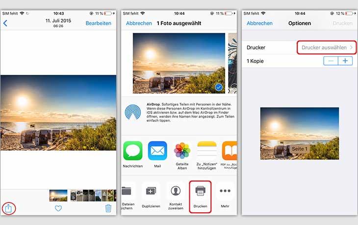 iPhone Foto drucken