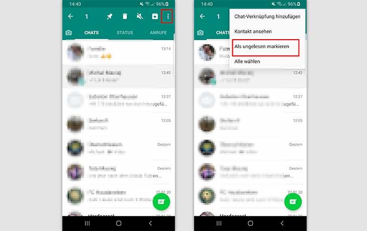WhatsApp-Nachrichten als ungelesen markieren - So