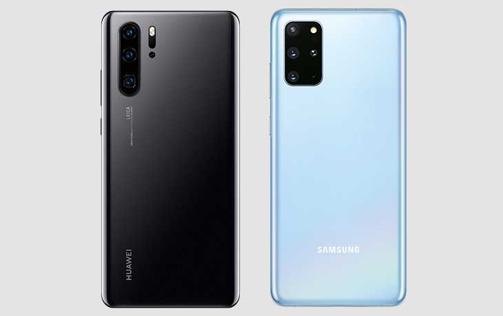 Galaxy S20 Plus und Huawei P30 Pro Rückseite