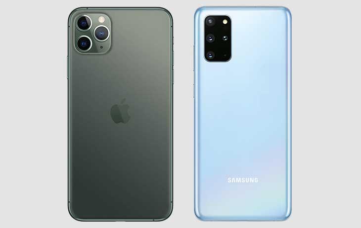 Galaxy S20 Plus und iPhone 11 Pro Rückseiten