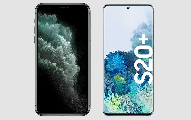 Galaxy S20 Plus und iPhone 11 Pro Vorderseiten