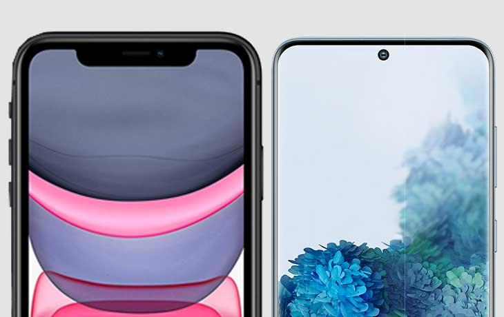 iPhone 11 vs. Galaxy S20: Notch