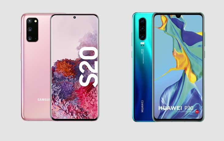 Galaxy S20 vs. Huawei P30: Display
