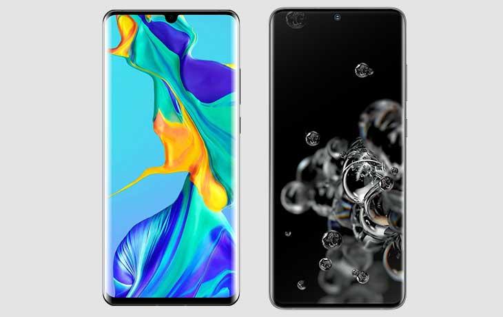 Vorderansicht Galaxy S20 Ultra und Huawei P30 Pro