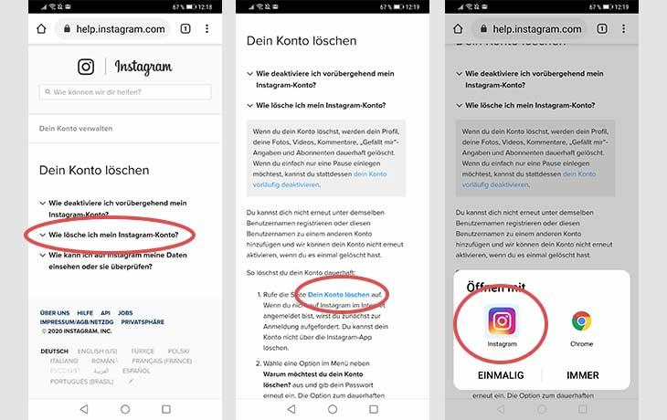 Instagram Profil löschen Screenshots 3
