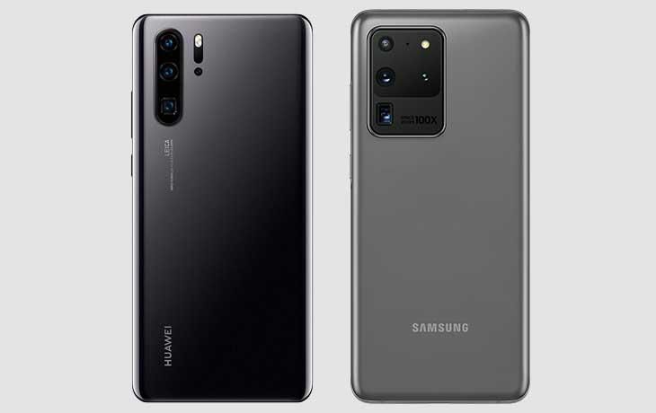 Rückseite Galaxy Ultra und Huawei P30 Pro