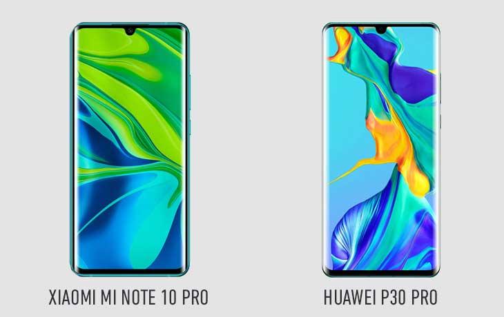 Xiaomi Mi Note 10 Pro und Huawei P30 Pro Front