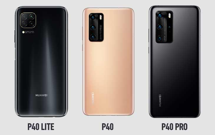 Huawei P40 Lite, Huawei P40 und Huawei P40 Pro Rückseiten