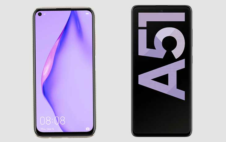 Huawei P40 Lite und Galaxy A51 Front