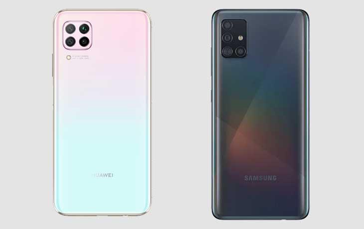 Huawei P40 Lite und Galaxy A51 Rückseite