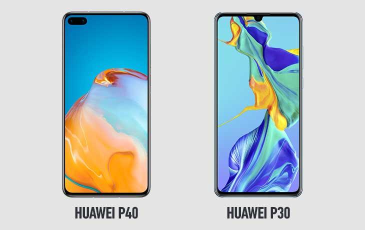 Huawei P40 und Huawei P30 Voderseiten