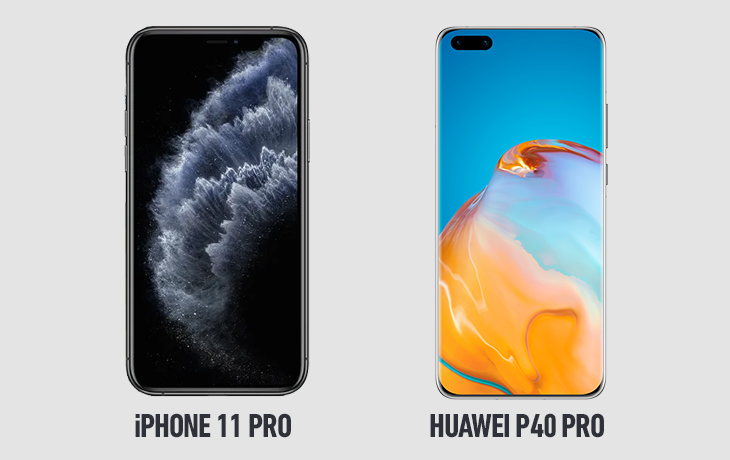 Huawei P40 Pro vs. iPhone 11 Pro:Display und Design