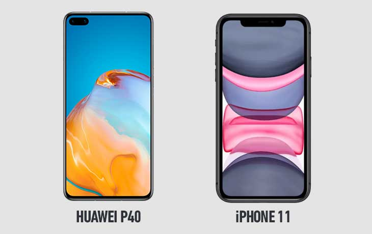 Huawei P40 vs. iPhone 11: Display