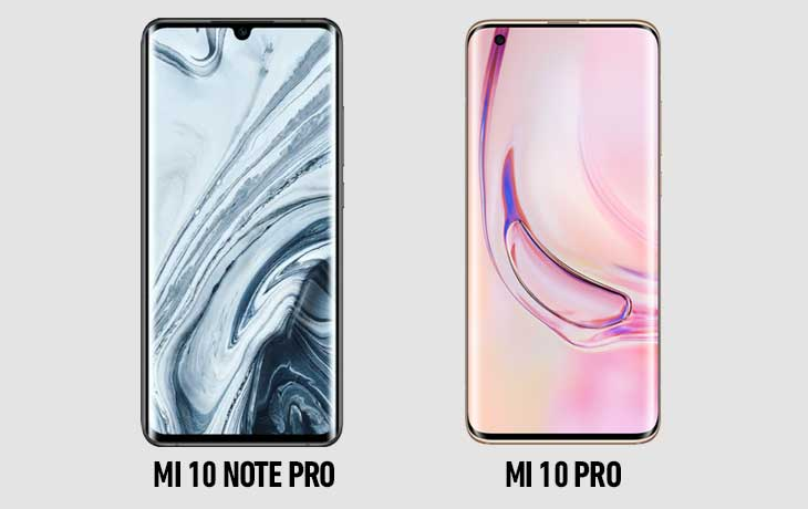 Mi 10 Pro vs Mi Note 10 Pro vorn