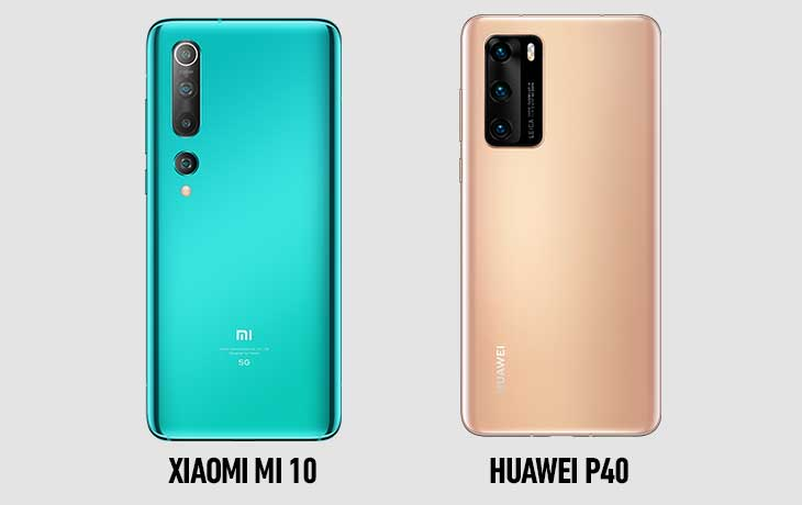 Xiaomi Mi 10 und Huawei P40 Rückseiten