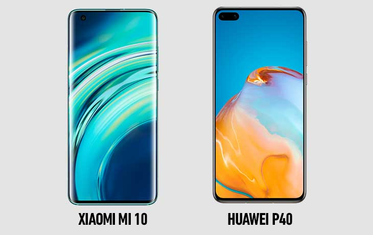Xiaomi Mi 10 und Huawei P40 Vorderseite