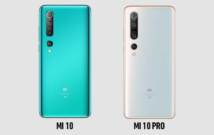 Xiaomi Mi 10 und Xiaomi Mi 10 Pro Rückseiten
